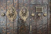 Closeup Of A Lion Head Door K...