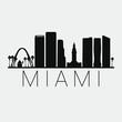 Miami Florida City. Skyline Silhouette City. Design Vector. Famous Monuments Tourism Travel. Buildings Tour Landmark.