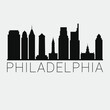 Philadelphia Pennsylvania. Skyline Silhouette City. Design Vector. Famous Monuments Tourism Travel. Buildings Tour Landmark.