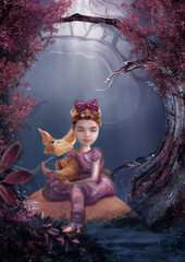 Girl and fox in magical forest. Creative background, 3D, CG