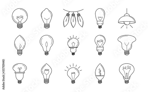 Photo electric light bulb, eco idea metaphor, isolated line style icons set