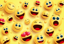 Smiley Emojis In Yellow Backgr...
