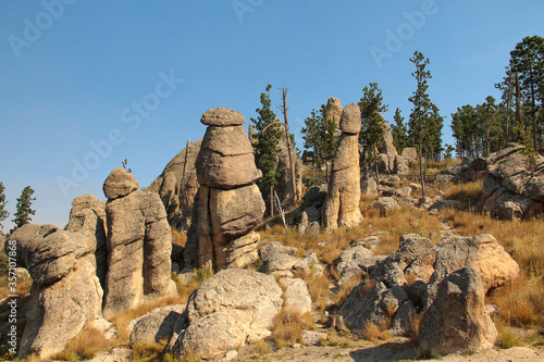 Tall phallic Rock formations  with blue skies. Fototapet