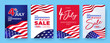 Fourth of July. 4th of July holiday banners, posters, cards or flyers Set. USA Independence Day design template for Sale, discount, advertisement, social media, web. Place for your text.