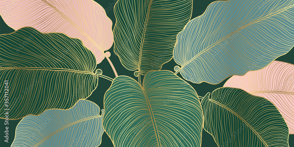 Fototapeta Luxury gold and nature line art ink drawing background vector. Leaves and Floral pattern  vector illustration.