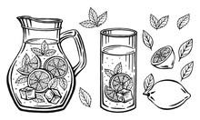 Glass Jug With Lemonade, Sketch Of Homemade Lemonade, Summer  Illustration. Hand Drawn Lemon, Lemon Slice, Straw. The Inscription On The Lemonade.