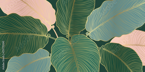 Luxury gold and nature line art ink drawing background vector. Leaves and Floral pattern vector illustration.