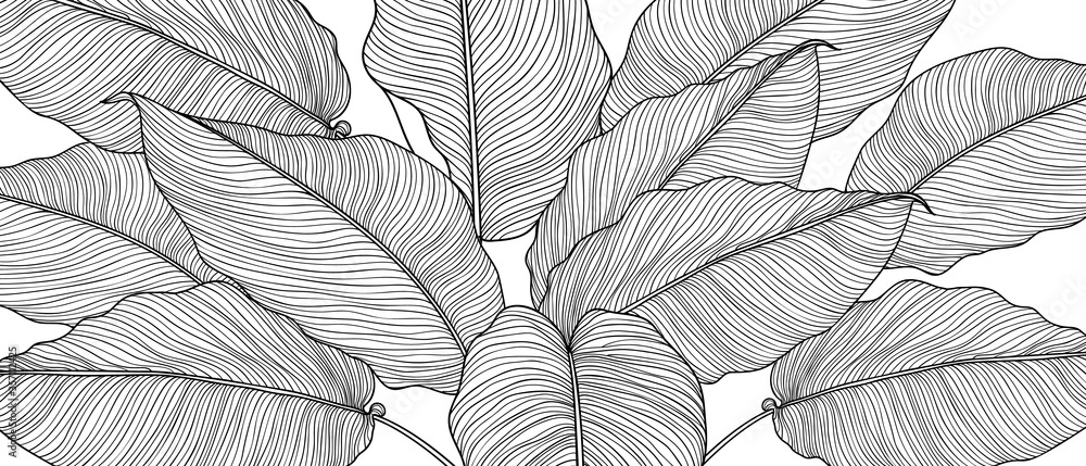 Fototapeta Hand drawn  leaves line arts ink drawing background, Abstract leaf vector pattern, Tropical leaves design for fabric, Wrapping paper and prints, Vector illustration.