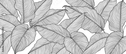 Obraz Hand drawn  leaves line arts ink drawing background, Abstract leaf vector pattern, Tropical leaves design for fabric, Wrapping paper and prints, Vector illustration. - fototapety do salonu