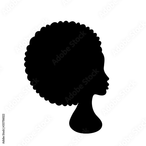 Beautiful African American Woman Face Profile Silhouette on white background Canvas Print