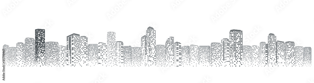 Fototapeta Futuristic night city. Building and urban vector Illustration, City scene on night time. Design graphic for web page or banner.