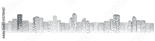Fototapeta Futuristic night city. Building and urban vector Illustration, City scene on night time. Design graphic for web page or banner. obraz