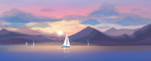 Vector  Sunset Sea Scene And Y...
