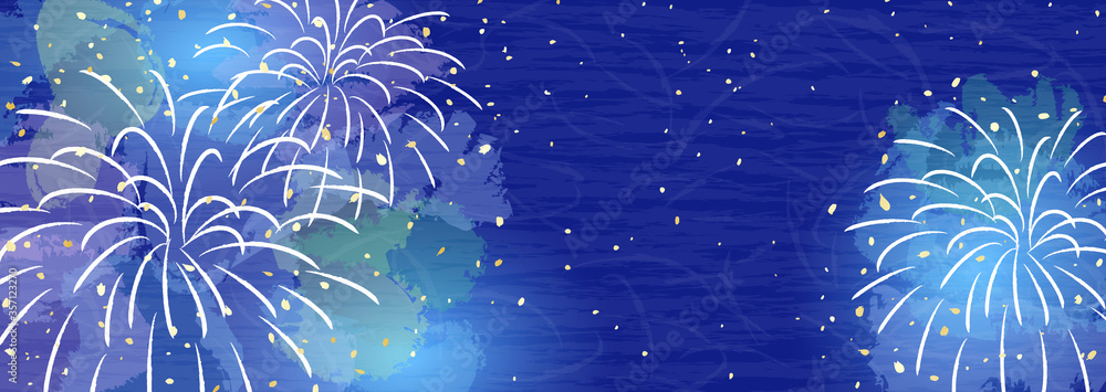 Fototapeta 穏やかな色合いの花火 背景イラスト