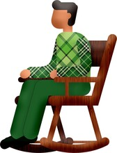 Illustration Of A Cartoon Man With A Green Checkered Shirt Sitting In A Rocking Chair