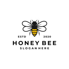 Bee Logo Concept, Honey Product Design Template