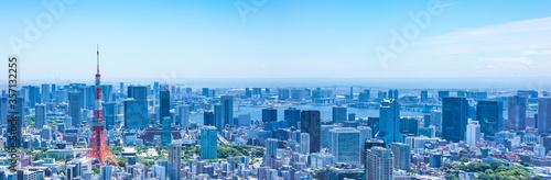 Obraz (東京都-風景パノラマ)青空とお台場方面風景5 - fototapety do salonu