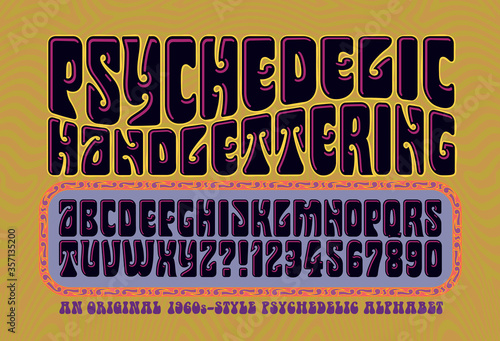 An Alphabet in the Style of 1960s Psychedelic Posters and Album Covers Wallpaper Mural