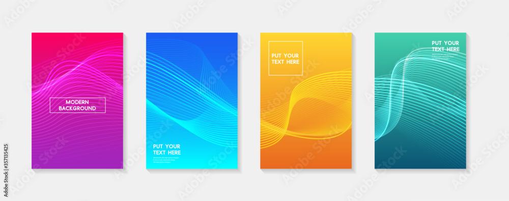 Fototapeta Minimal modern cover design. Dynamic colorful gradients. Future geometric patterns. Blue, pink, yellow, green, orange, purple placard poster template.