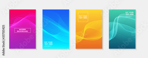 Fototapeta Minimal modern cover design. Dynamic colorful gradients. Future geometric patterns. Blue, pink, yellow, green, orange, purple placard poster template. obraz