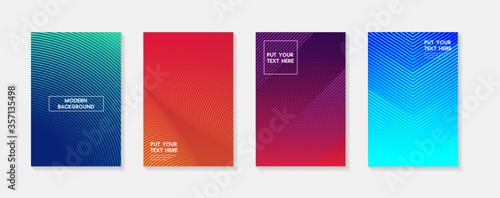 Fototapeta Minimal modern cover design. Dynamic colorful gradients. Future geometric patterns. Blue, pink, yellow, green, orange, purple placard poster template. obraz