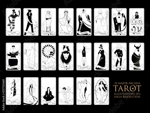 Leinwand Poster 22 Major arcana of the tarot in full, isolated on white background