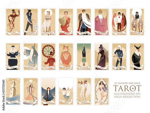 22 Major arcana of the tarot in full, isolated on white background Canvas-taulu