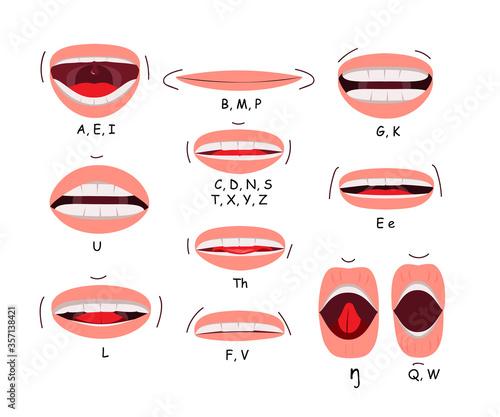 Mouth sync flat icon set Canvas Print