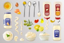 Realistic Mayonnaise Transparent Background Set