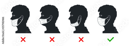 Obraz The right and wrong way to wear a mask. Silhouette characters about mistakes people make when wearing face masks.  - fototapety do salonu