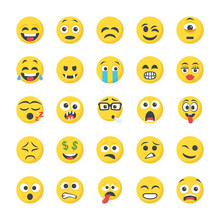 Flat Icons Of Smileys
