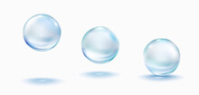 Collagen Droplets Set Isolated On White Background. Realistic Vector Clear Dews, Blue Pure Drops, Water Bubbles Or Glass Balls Template