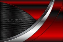 Metallic Of Red With Carbon Fiber Dark Space Technology Concept Vector Illustration.