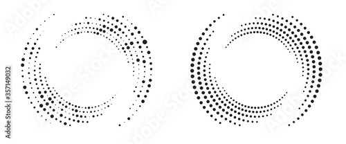 Obraz Modern abstract background. Halftone dots in circle form. Round logo. Vector dotted frame. Design element or icon. - fototapety do salonu