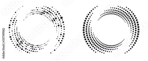 Obraz Modern abstract background. Halftone squares in circle form. Round logo. Vector dotted frame. Design element or icon. - fototapety do salonu