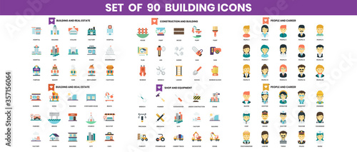 building and construction icons set for business