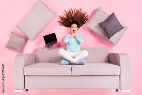 Fotografie, Obraz Top view above high angle flat lay flatlay lie concept of her she nice attractiv