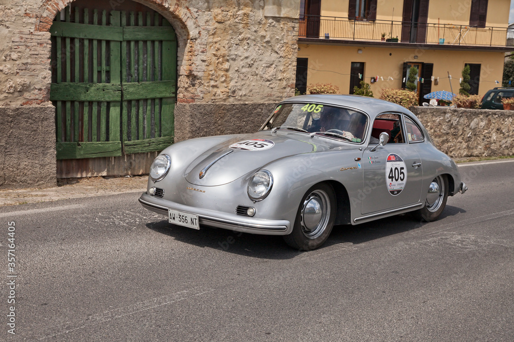 Porsche 356 1500 GS Carrera (1956) in classic car race Mille Miglia 2014, reenactment of the old italian race (1927-1957), on May 17, 2014 in Colle di Val d'Elsa, SI, Italy