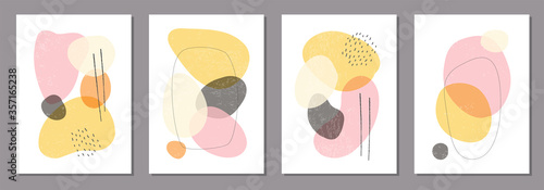 Set of minimal posters with abstract organic shapes composition in trendy contem Canvas Print