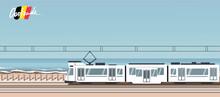 A Coastal Tram In Ostend, Belgium. Vector Flat Illustration.