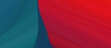 Chaotic Curved Speed Lines Background Or Backdrop With Teal Green, Firebrick And Crimson Colors. Can Be Used As Header Or Banner