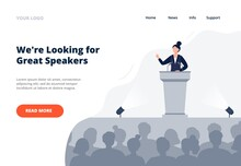 A Woman Stands On The Tribune And Speaks To An Audience. Politics, Debates, Or International Press Conference Concept. Public Speaking Landing Page Template. Flat Vector Illustration.