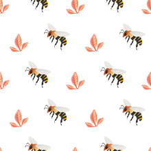 Honey Bee Vector Seamless Pattern Background. Delicate Hand Drawn Striped Insect And Subtle Petal Pastel Backdrop. Garden Bug Illustration Repeat. All Over Print For Summer, Food, Conservation Concept