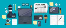 Independent Journalism Flat Banner. Equipment For Journalist On Desk. Flat Vector Illustration