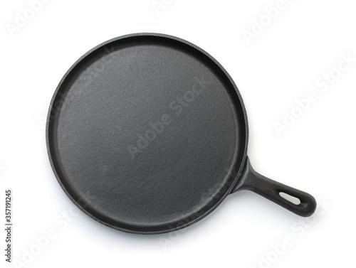 Fotografía Top view of cast iron crepe pan
