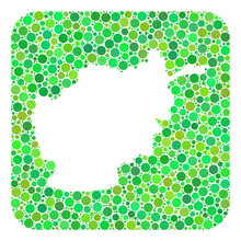 Map Of Afghanistan Collage Designed With Rounded Rectangle And Cut Out Shape. Vector Map Of Afghanistan Mosaic Of Spheric Blots In Different Sizes And Green Color Hues.