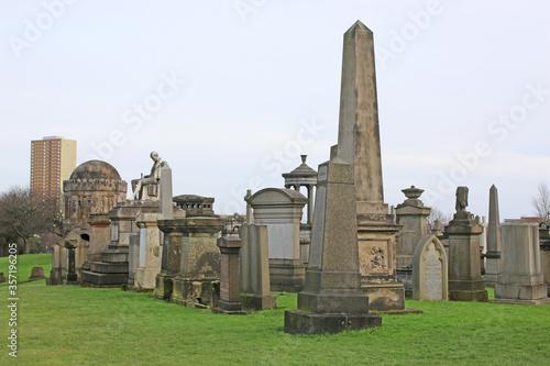 Memorial stones in Glasgow Necropolis, Scotland