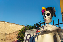 Catrina Skull Puppet As Decoration For Day Of The Dead, Merida, Yucatan, Mexico