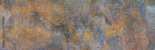 Foto Panoramic grunge rusted metal texture, rust and oxidized metal background