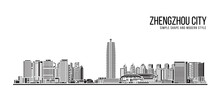 Cityscape Building Abstract Simple Shape And Modern Style Art Vector Design -   Zhengzhou City